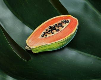 Papaya fruit wooden hand painted brooch