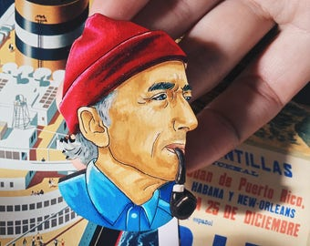 jacques cousteau wooden brooch, sailing brooch, steve zissou