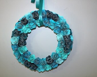 Paper Floral Wreath, Paper Wreath, Floral Wreath,Turquoise  Wreath, Teal Wreath, Paper Flower, Bedroom Wreath, Ocean Colors Wreath