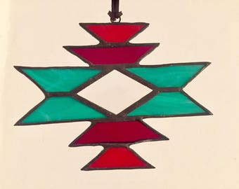 "Stained glass sun catcher ""navajo"" turquoise , with bevel, 12 x 15 cm"