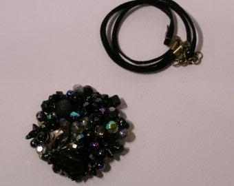 brooch-black short necklace, convertible, black alcantara Choker jewelry