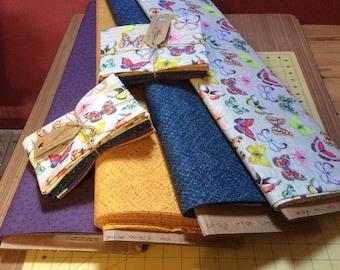 Fat Quarter bundle,  quilting fabric bundle,  madame butterfly, butterfly fabric, blue fabric, mustard fabric, butterflies