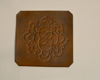 Set of six - brown flower coaster
