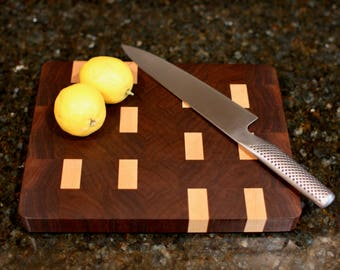 Walnut and maple end grain cutting board