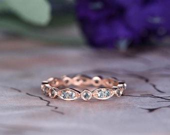Alexandrite Wedding band,14k Rose Gold,Art deco Marquise,Anniversary ring,Promise ring,Full Eternity,Stackable Band,Bezel Set,Gift for her