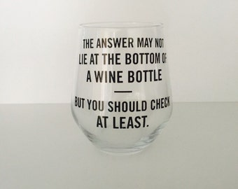 Wine glass with quote