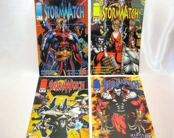 4 Stormwatch Lot Of Vintage Comic Magazines i Image Comics Magazine Collection Superhero 1990s collectible Cartoon Characters Comic Book