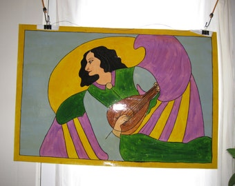 Woman with Harp 34.75 x 23.75 floor cloth