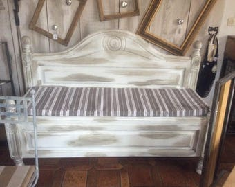 Modified old bed to bench and trunk