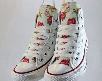 Crimson peonies painted converse flower design on tongues