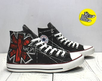 Red Hot Chili Peppers custom black rockstyle converse sneakers RHCP