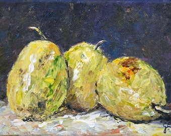 "Still Life Acrylic Painting of Pears ""Pear Trio"""