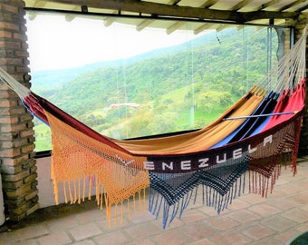 Hammock, Venezuelan flag 100% cotton,  with fringes woven, excellent gift, Size king size