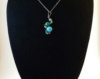 wire wrapped green and turquoise necklace