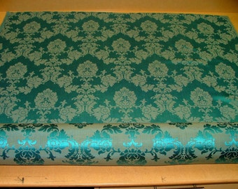 Designer Madagascar Teal Blue Curtain Fabric Damask Upholstery - Showhome Look