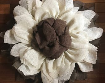 Burlap Brown and Ivory Sunflower