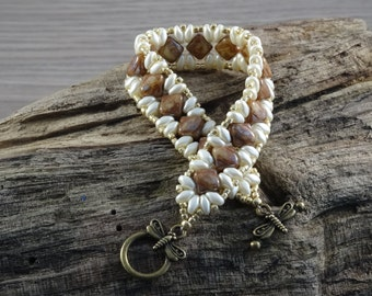 Superduo and Silky bead bracelet seed beads and toggle clasp fastener