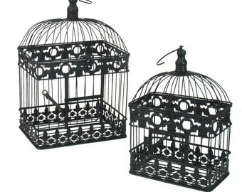 Set 2 black rectangular bird cages