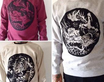 Sweatshirt Hoodie tattoo Tiger dragon