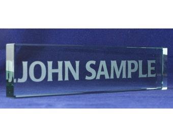 "Desk Name Plates - Jade Tone Crystal Glass 8"" x 2"""