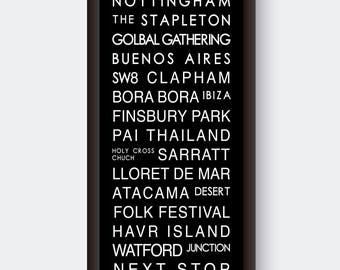 Bespoke/Personalised destination bus sign print in Kraft, colour or classic black and white bus blind style
