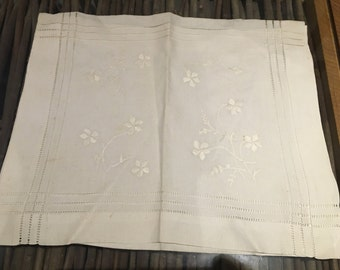Beautiful Antique vintage cotton linen nightdress or pyjama case with embroidered flowers detail and open threadwork border British