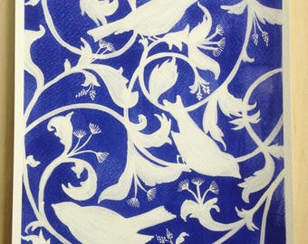 Blue and White Bird and Floral Archival Print of Original Gouache Painting