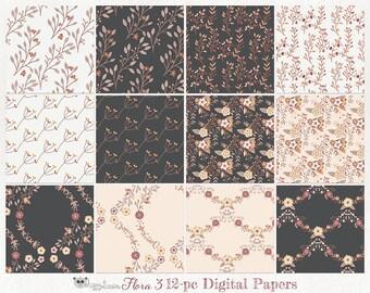 80% OFF! - Digital Paper Flowers Floral 03 Earth Tones Brown Tan