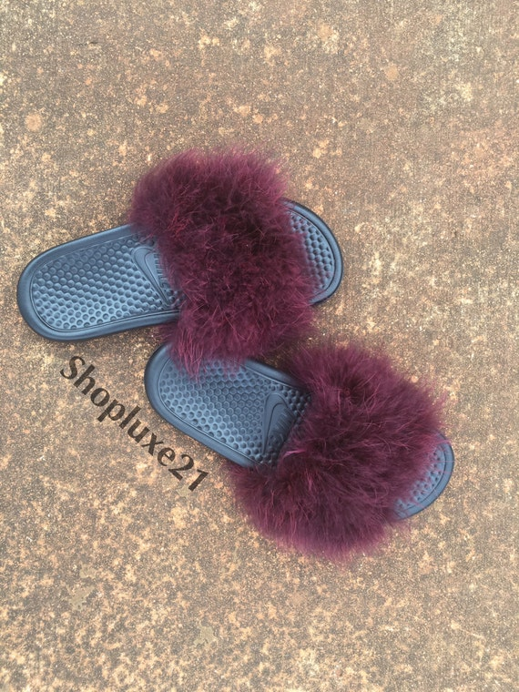 a34f875b8c6247 80%OFF Wine faux fur nike slides by Luxe21 on Etsy - ramseyequipment.com