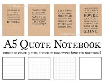 A5 Quotation Notebook, Kraft Cahier Insert | Literary Typography Journal, Bookish Writer Gift | Midori TN Traveler's Notebook A5 Dori Insert