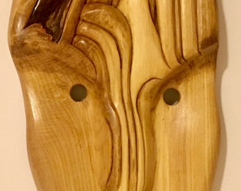 Wood Mask (hand carved), includes wood stand