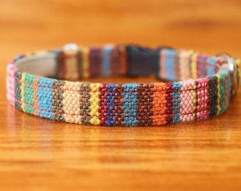 Chocky Cat Collar, Boho Cat Collar Breakaway, Colorful Stripe Kitten Collar, Stripe Tribal Cat Collar Breakaway, Boho Small Dog Collar