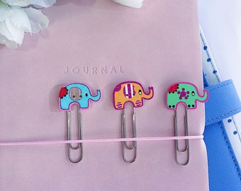 3 x Elephant Page Markers, Planner Clips, Bookmarks, Accessories and Decorative Paper Clips