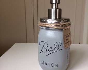 Ball Mason Jar Hand Painted Soap / Lotion Dispenser - Paris Grey