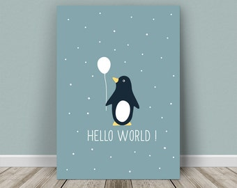 Personalised baby print penguin for a boy or a girl