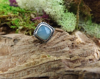 SALE! Sterling silver and chalcedony ring, size 8.5