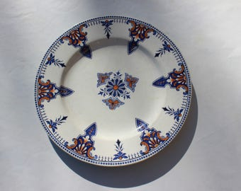 Plate Luneville antique French beautiful elegant small, early 1900s