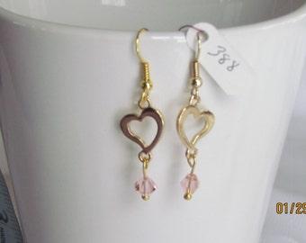 Hearts Gold w/ Pink Bead, Dangle Earrings