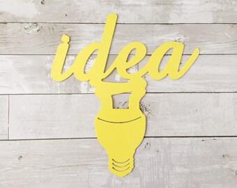 Idea Wall Sign - Idea Metal Sign - Metal Wall Art - Yellow Idea Art - Pop Art - Yellow Home Decor