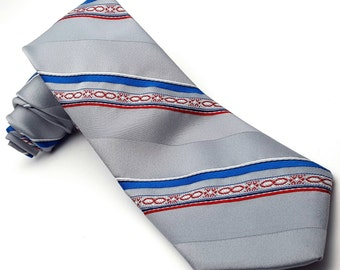"Christopher Barnes Grey Narrow 3"" Striped Vintage necktie men's tie Wedding Groom Dad made in Canada neckwear silk polyester red blue black"