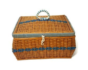 Vintage 40s Wood and Wicker Sewing Basket with Floral Lining Box by Bacon Basketware
