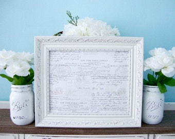 Magnetic Board & Four Magnets Of Your Choice, Framed Magnet Board, Written Letter Fabric, Chalk White Frame, Distress