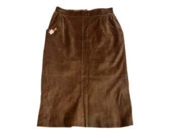 Vintage women suede skirt brown genuine leather size 44 Еdelweiss embroidery