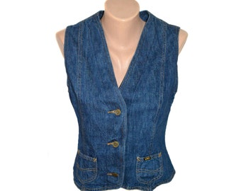 Vintage Lee Jeans ® women vest blue denim 100% cotton Made in UK