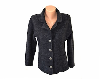 Vintage Your Sixth Sense C&A women wool blazer gark gray cardigan