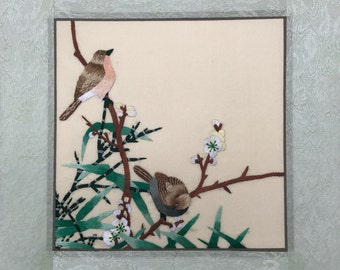 Mounted Embroidery - Sparrows and Plum Blossom - Fatastic House Warming Gift