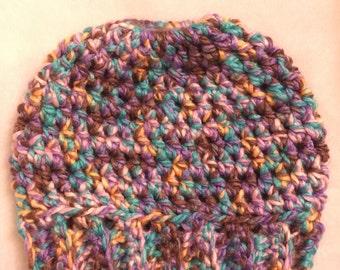 Measy Bun Hat - Multicolor Hat - Crochet Hat - Winter Hat