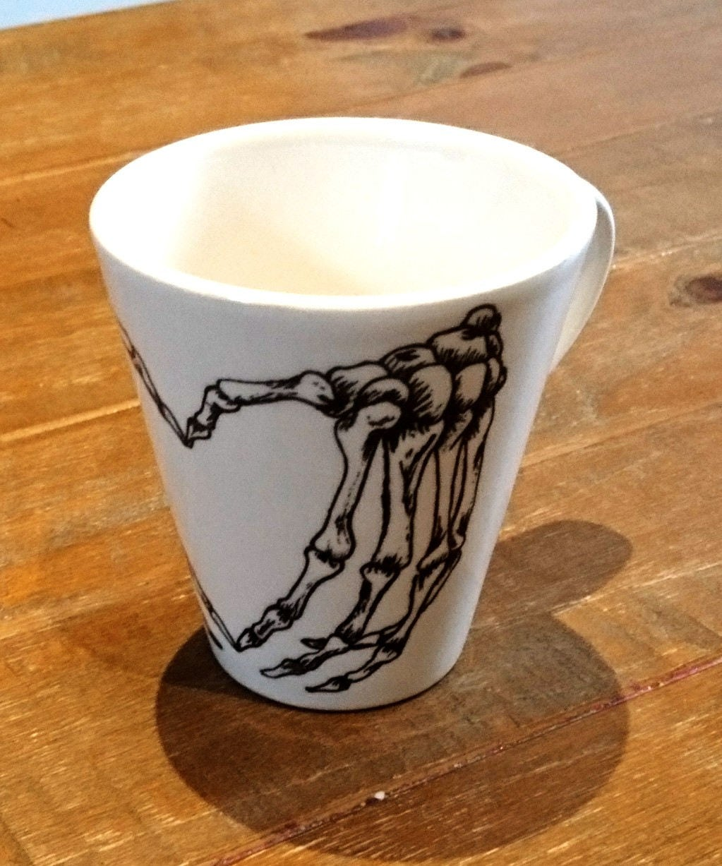 Skeleton Bones Mug Heart Shaped Cup Custom Message Hands