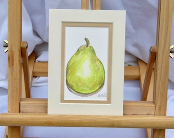 Green Pear, SALE, Original Watercolour, Pear Painting, Fruit, Unframed Art,