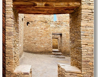 Native American ancient stone walls at Chaco Canyon ruins in New Mexico showing interesting T shaped door. Gallery wrap canvas photograph.